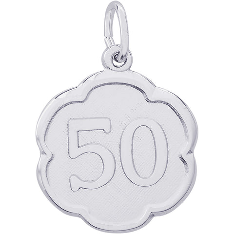 Number Fifty Scalloped Disc Charm
