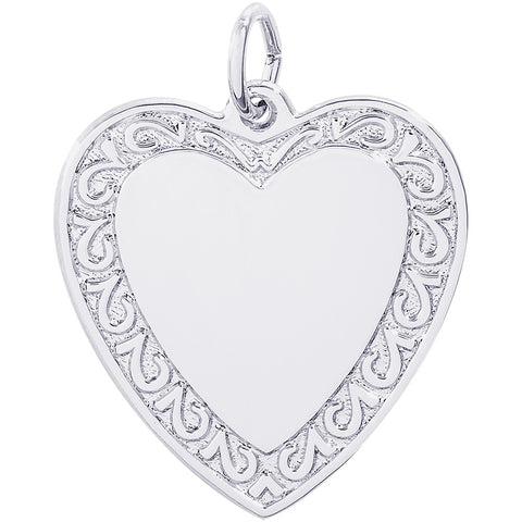 Scrolled Classic Heart Charm