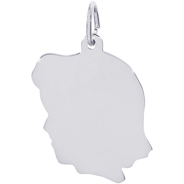 Flat Large Girl's Head Charm