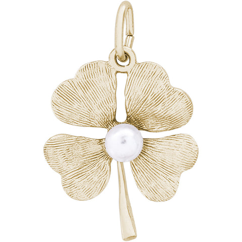 Four Leaf Clover With Pearl Charm