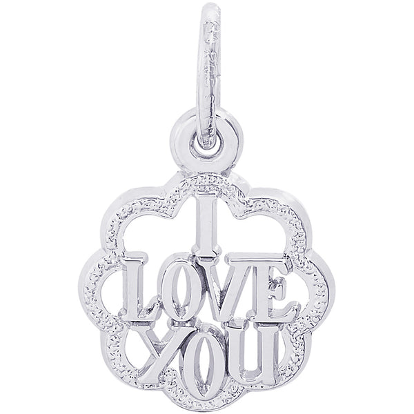I Love You With Scalloped Border Charm