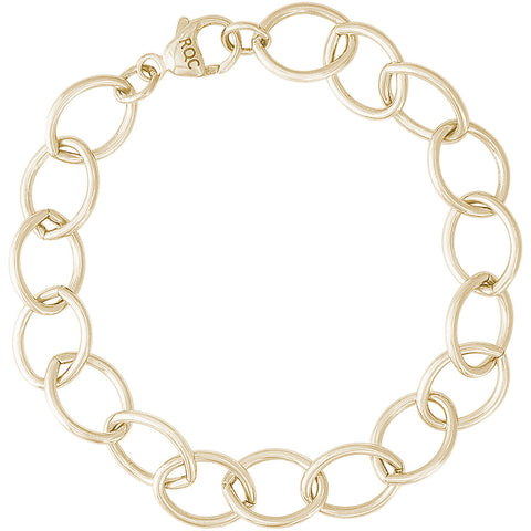 Single Link Open Curb Classic Charm Bracelet