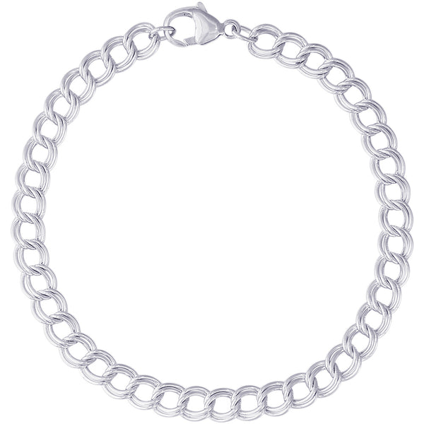 Small Double Link Dapped Curb Classic Charm Bracelet