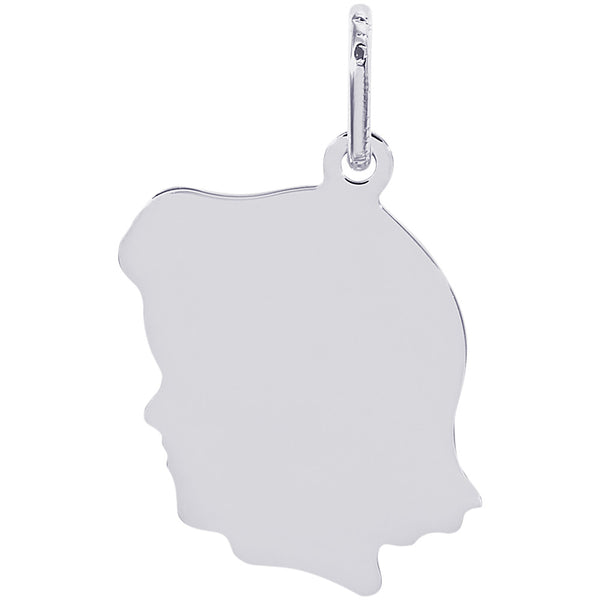Flat Medium Girl's Head Charm