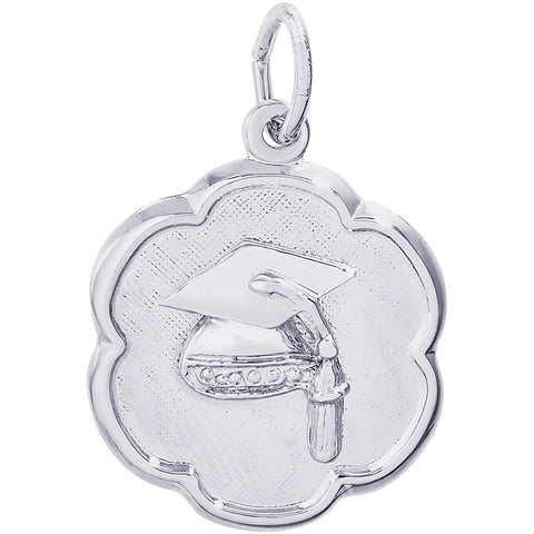 Graduation Cap Scalloped Disc Charm