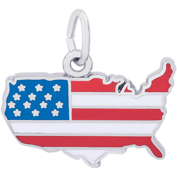 United States Flag Map Charm