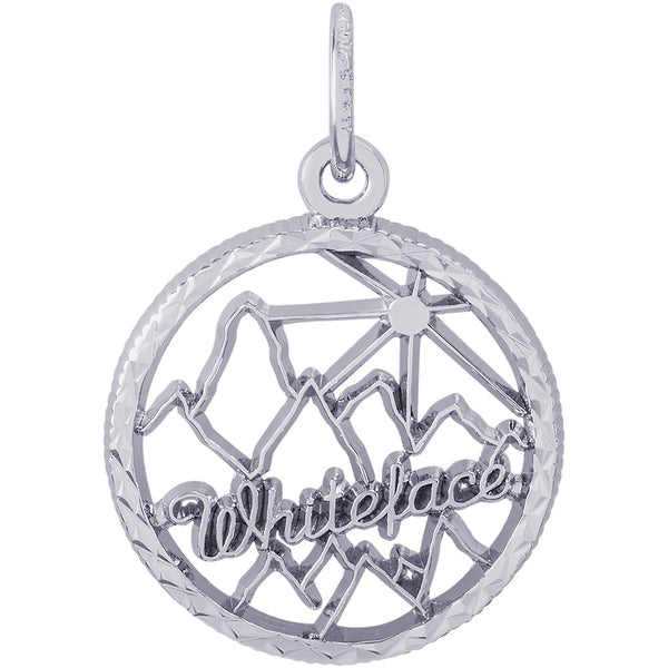 Whiteface Mountain Diamond Faceted Disc Charm
