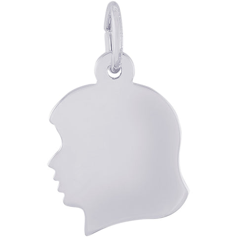 Flat Young Girl's Head Charm