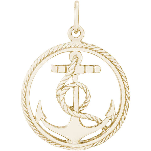 Ships Anchor In Rope Circle Charm