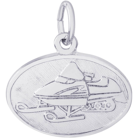 Snowmobile Oval Disc Charm