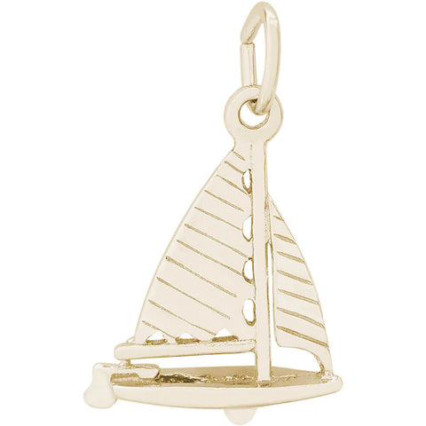 Striped Sloop Sailboat Charm