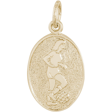 Soccer Player Oval Disc Charm