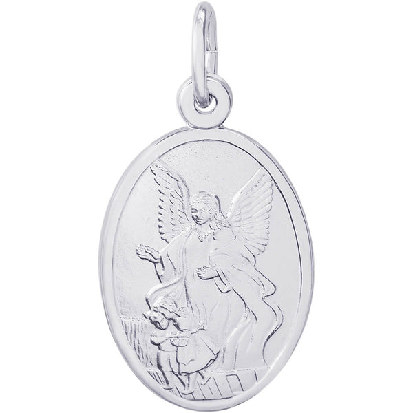 Guardian Angel Oval Disc Charm