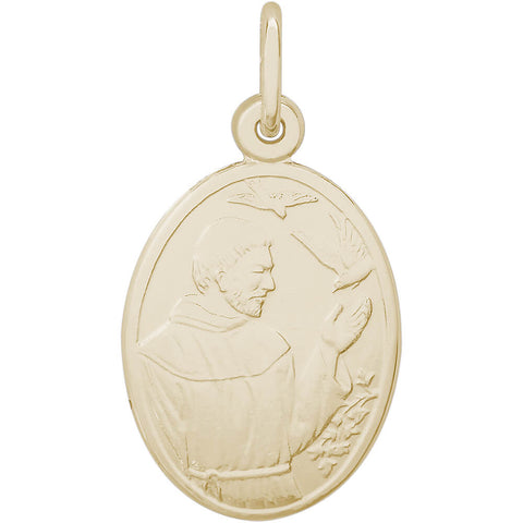 St. Francis Oval Disc Charm