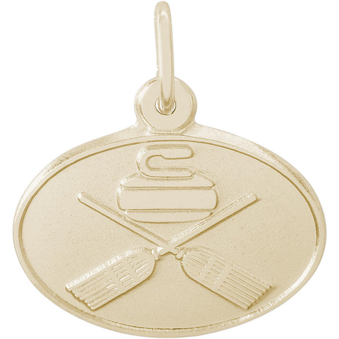 Curling Oval Disc Charm
