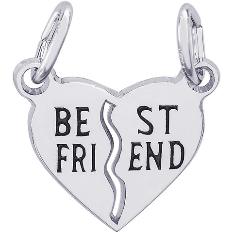 Best Friend Shared Heart Charm
