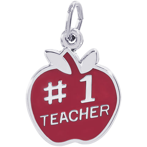 Number One Teacher Apple Charm