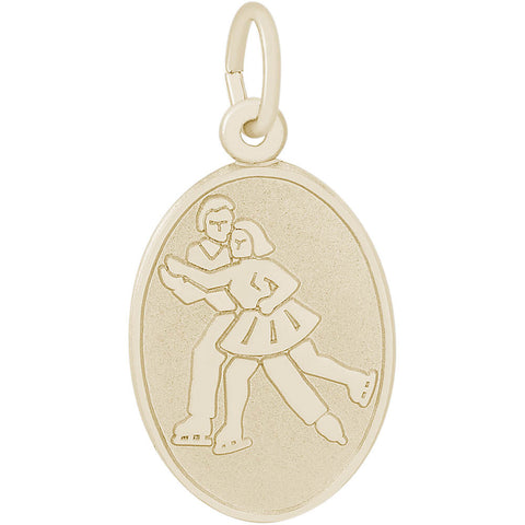Ice Skaters Oval Disc Charm