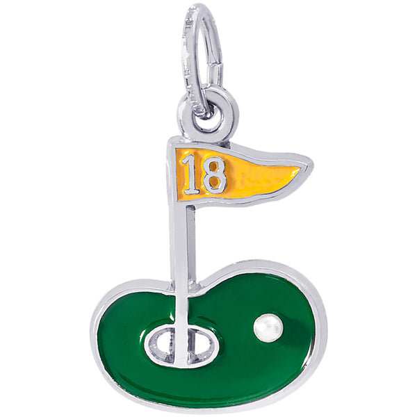 Painted Golf Green Charm