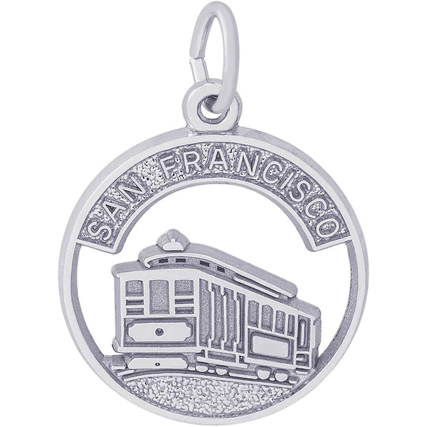 Flat San Francisco Cable Car Open Disc Charm