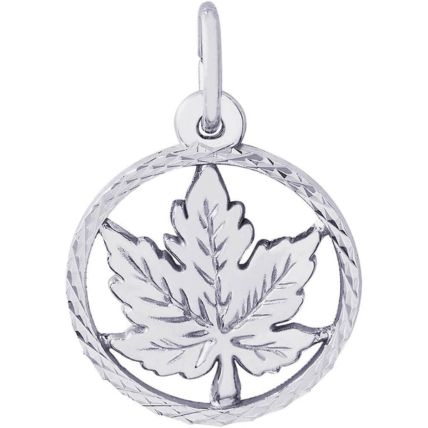 Maple Leaf Diamond Faceted Disc Charm