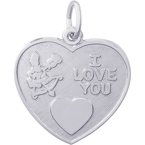 Cupid I Love You Heart Charm