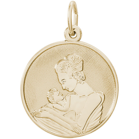 Mother Holding Baby Disc Charm