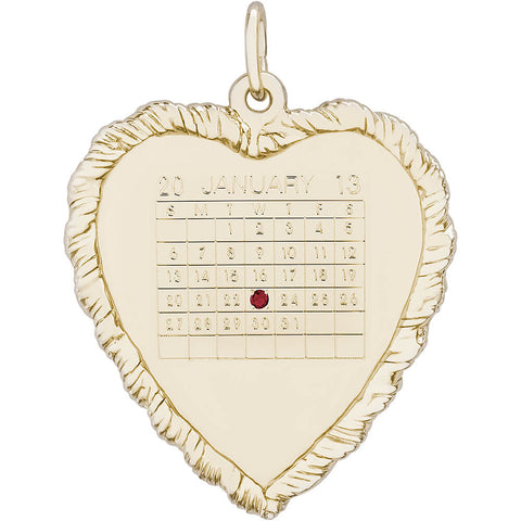 Classic Twisted Rope Heart Calendar Charm