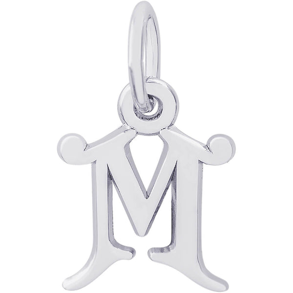 Curly Initial M Accent Charm