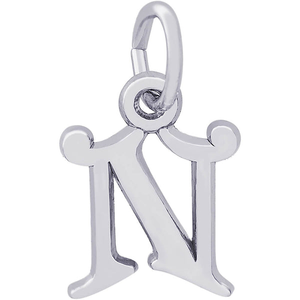 Curly Initial N Accent Charm
