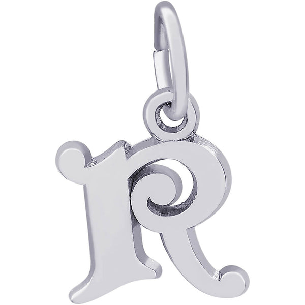Curly Initial R Accent Charm