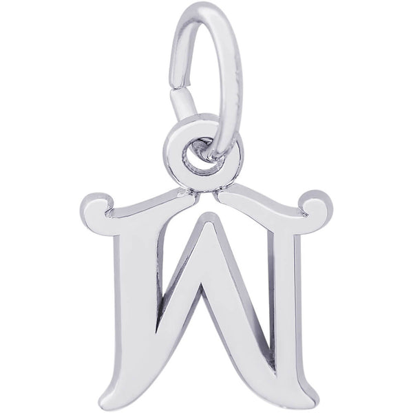 Curly Initial W Accent Charm