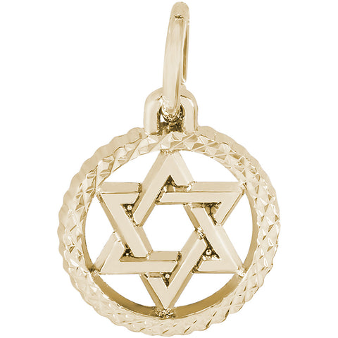 Star Of David In Diamond Faceted Disc Charm