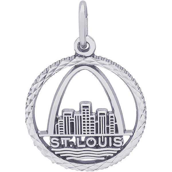 St. Louis Skyline Diamond Faceted Disc Charm