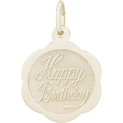 Happy Birthday Scalloped Disc Charm