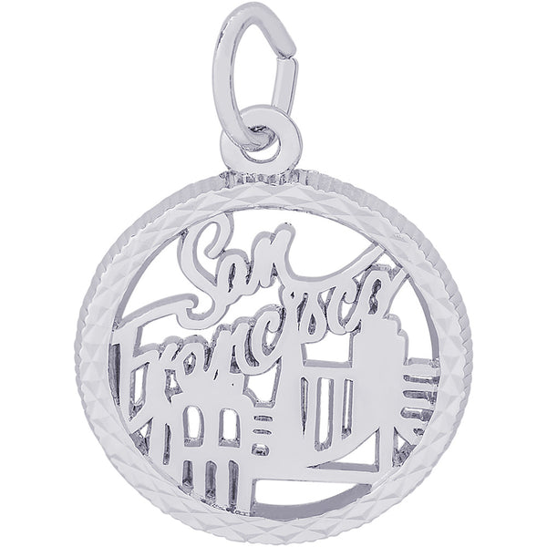 San Francisco Diamond Faceted Disc Charm