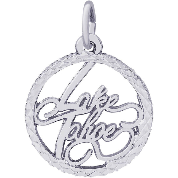 Lake Tahoe Diamond Faceted Disc Charm