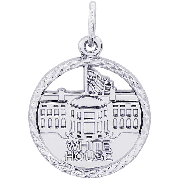 White House Diamond Faceted Disc Charm