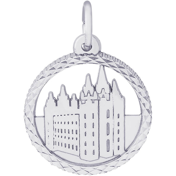 Mormon Temple Diamond Faceted Disc Charm