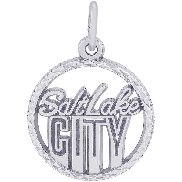 Salt Lake City Diamond Faceted Disc Charm