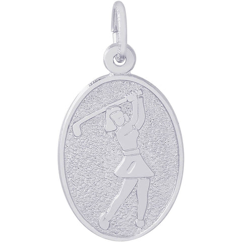 Female Golfer Oval Disc Charm