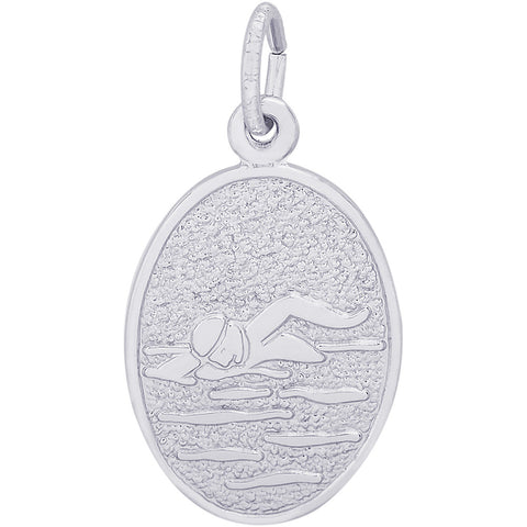 Swimmer Oval Disc Charm