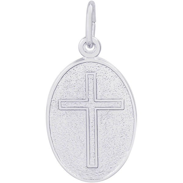 Cross Oval Disc Charm