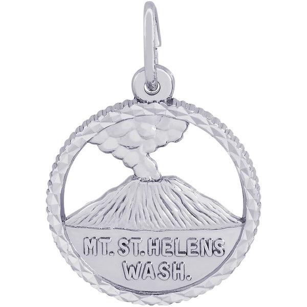 Mt. St. Helens Diamond Faceted Disc Charm