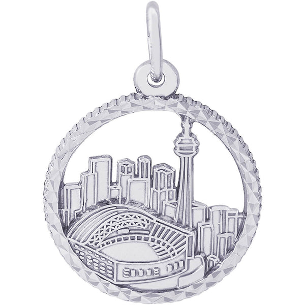Toronto Skyline Diamond Faceted Disc Charm