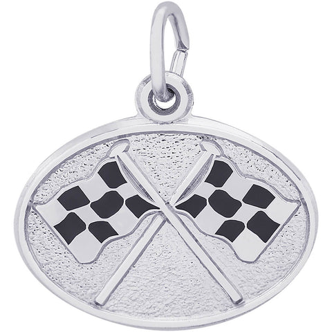 Racing Flags Oval Disc Charm