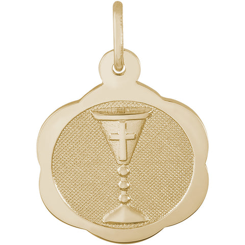 Communion Chalice Scalloped Disc Charm
