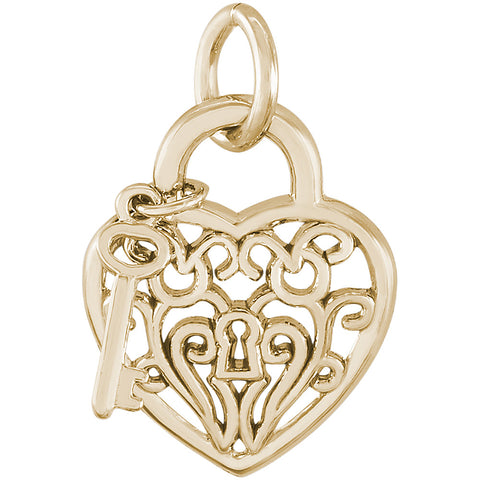 Filigree Heart & Key Charm