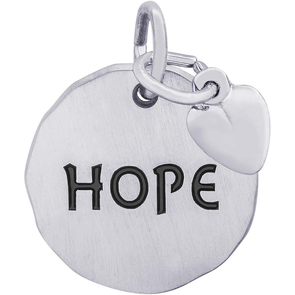 Hope Charm Tag With Heart Accent