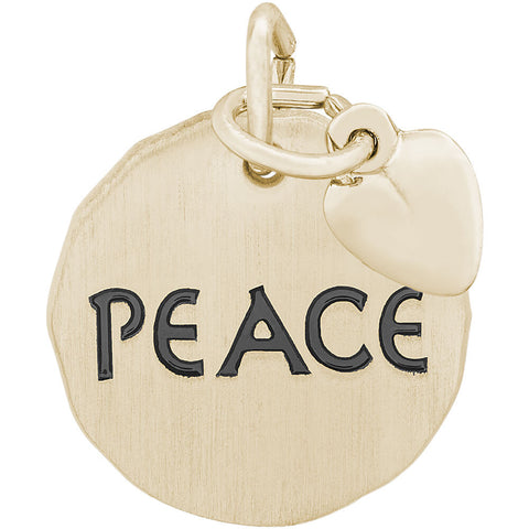 Peace Charm Tag With Heart Accent